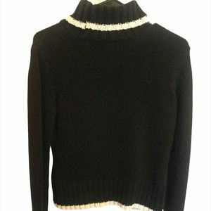INC Black Cable Knit Sweater w/ White Trim Small P